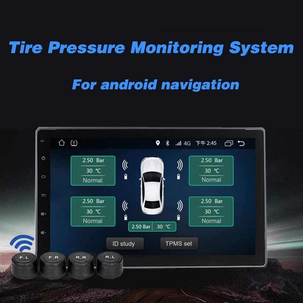 Tire Pressure Monitoring System for Android Navigation with 4 External Sensors Real-time Display 4 Tire Pressure Monitoring,Baugger