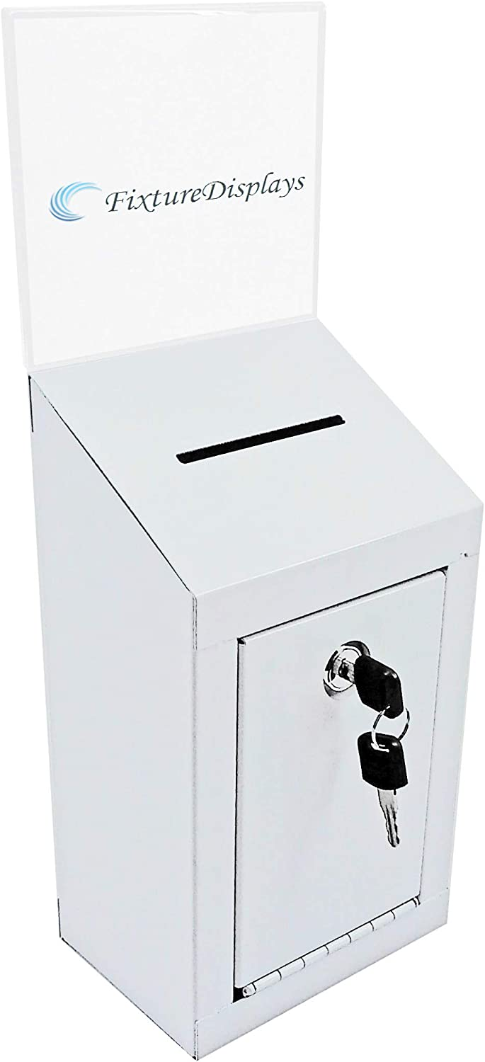 FixtureDisplays Classic Metal Box, Secure Donation Box, Ballot Box, Collection Box, Ticket Box W/Header, Easy Wall Mount or Counter Top Use 16769-NPF