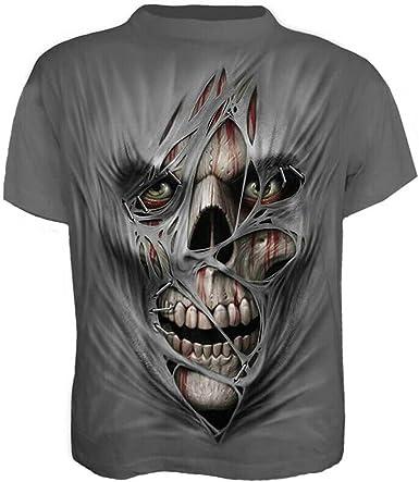 Frecoccialo - Camiseta gráfica de manga corta para hombre con impresión de calavera en 3D