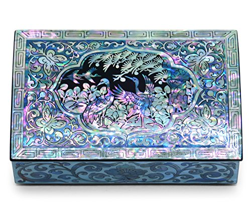 Jewelry Trinket Box Mother of Pearl Sea Shell Inlaid Lacquered Cranes Design Small ()