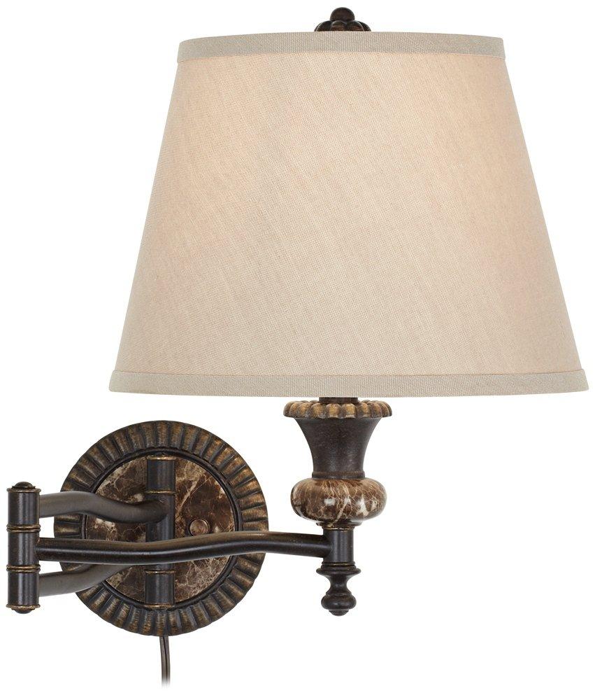 Bronze Plug-In Swing Arm Wall Lamp w/ Faux Marble Backplate