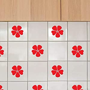 """Poppy Flower Tile Stickers 16PCS Easy to Apply Waterproof Wall Stickers Decals for Bathroom Kitchen - Vinyl 3.2"""" x 3.2"""" Red"""
