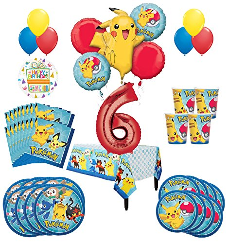 Pokemon 6th Birthday Party Supplies and 8 Guest 54pc Balloon Decoration Kit