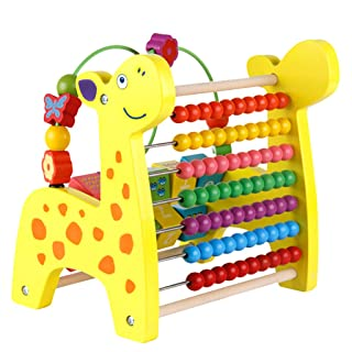 MagiDeal 3 in 1 Kid Wooden Fawn Developmental Toy Revolving Number Blocks & Abacus & Beads Maze Puzzle Learning Toddler Toys non-brand
