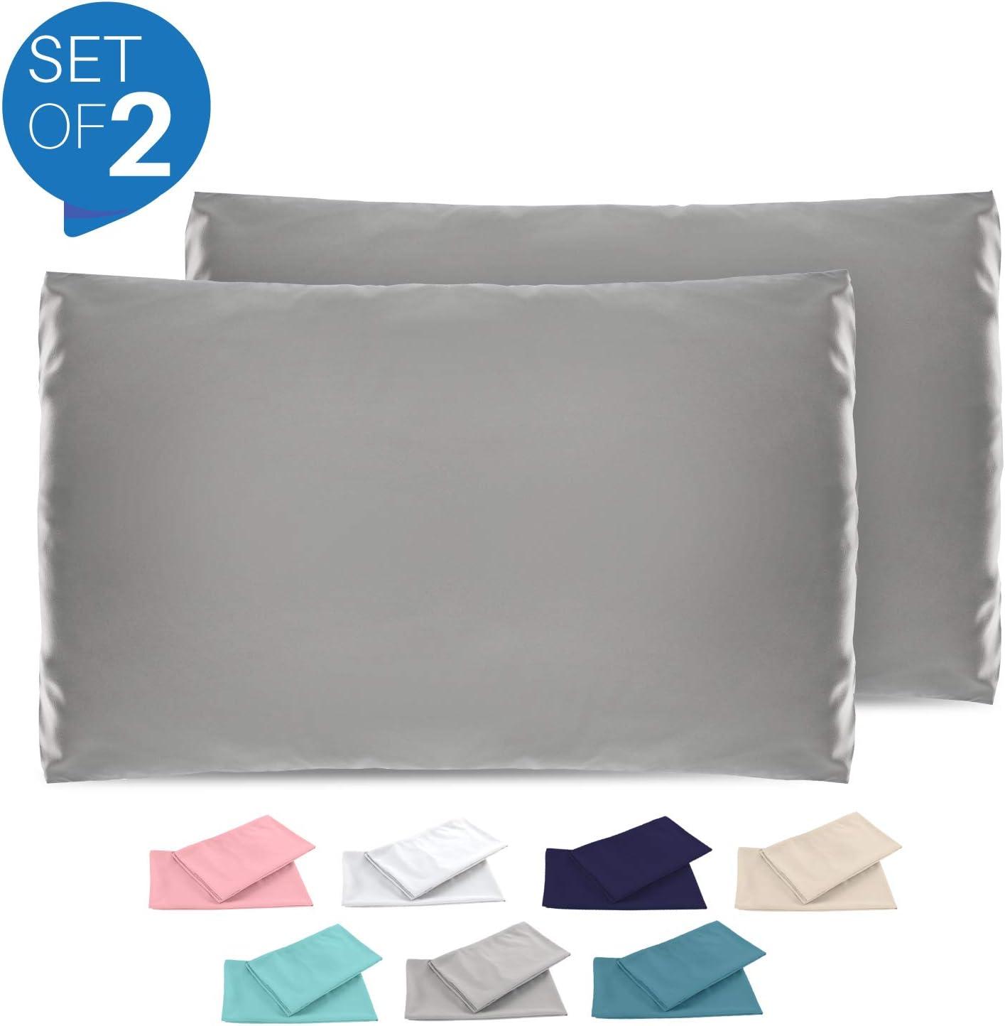 Dreamzie - Set de 2 x Funda de Almohada 40x70 cm, Gris Antracita, Microfibra (100% Poliéster) - Fundas de Almohadas Hipoalergénica - Fundas de Cojines de Calidad con una Suavidad Incomparable