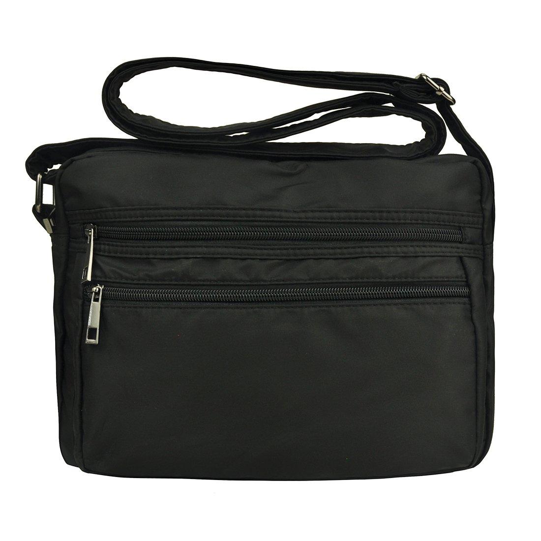 Multi Pocket Nylon Crossbody Bag Lightweight Purses and Handbags Pocketbooks Messenger Bags for Men and Women