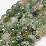 Charming Beads Filo 60+ Verde Agata Muschiata 6mm Tondo Liscio Perline - (GS1646-2)
