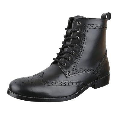 2a7fbba074c456 Ital-Design Stiefeletten Herren Leder Schuhe Chelsea Boots Blockabsatz  Schnürer Schnürsenkel Boots Schwarz