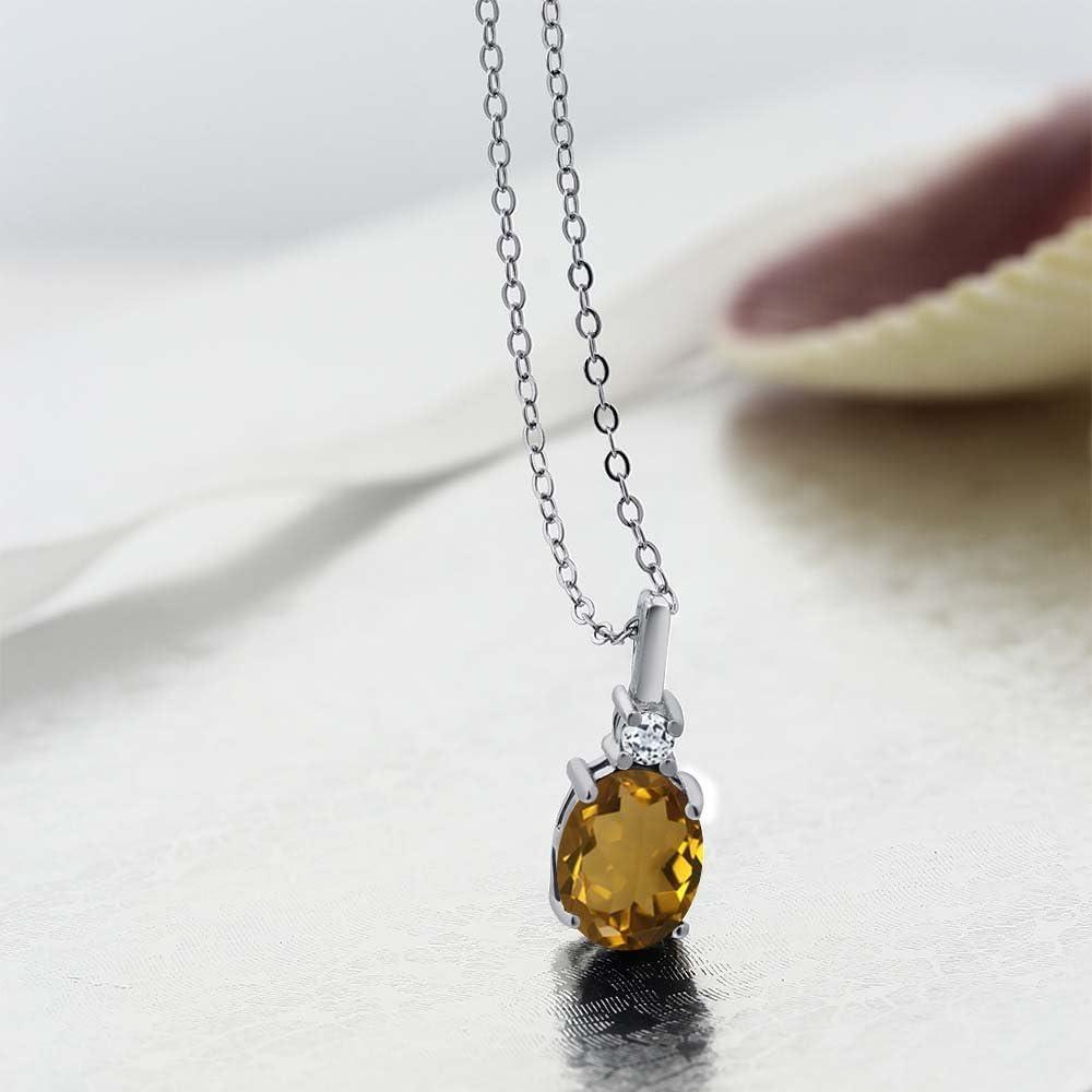 Perfect Jewelry Gift Sterling Silver White Topaz /& Whiskey Quartz Circle Pendant