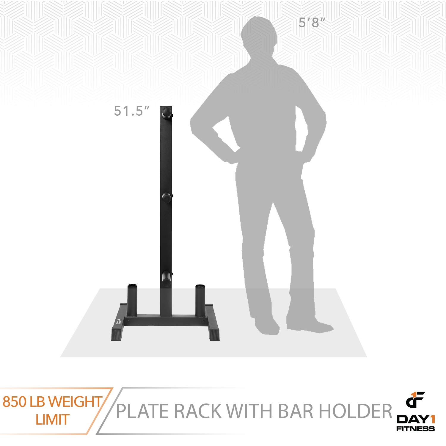 """Stores Up to 850 lb Gym Equipment Accessories Free-Standing Sturdy Plate Racks Stand with 6 Pegs for Weighted Plates and Barbells Weight Rack and 2 Bar Holder for 2/"""" Olympic Plates by D1F"""