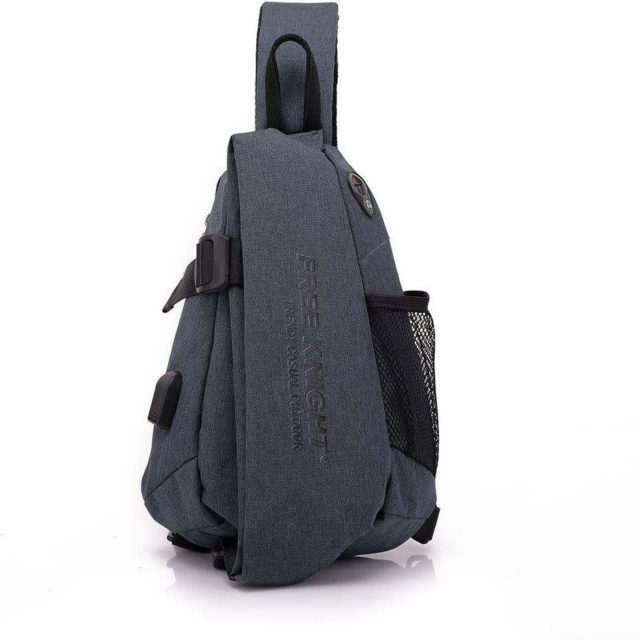 Water Resistant Outdoor Shoulder Backpack Chest Pack Crossbody Bags With Earphone Hole USB Charging Hole Messenger Bag-Light Gray Vacio Sling Bag