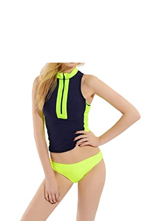 33e6f3cbdfef1 Amazon.com: 2017 Navy Blue and Fluorescent Yellow Print Bikini Two Piece  Swimsuit Professional Tankini With Padded High Neck Swimwear: Clothing