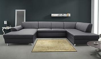 Calabria Wohnlandschaft Eckgarnitur Sofa Couch Kunstleder Schwarz