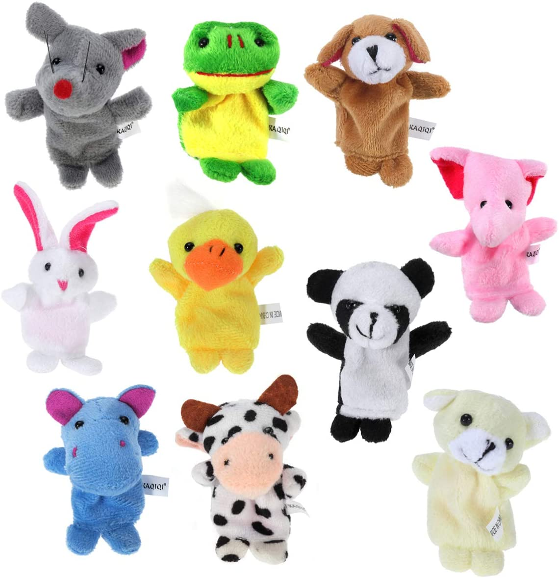 NUOBESTY 10 Piezas Animales Títeres de Dedo Bebé Historia Marionetas Juguetes Mini Figuras de Peluche Juguete Manos Suaves Títeres de Dedo para Niños