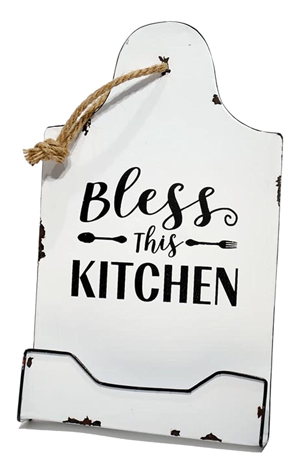 Young's White & Black Enamelware Cookbook Holder - Bless this Kitchen Youngs