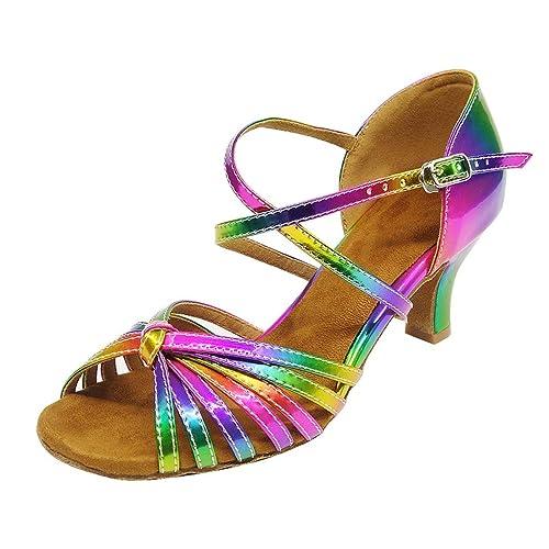 3b7783931432 HXYOO Women Latin Dancing Shoes for Ballroom Salsa Tango Rainbow ...