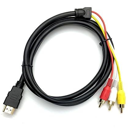Amazon.com: HDMI Male to 3 RCA RGB Male AV Video Audio Adapter Cable ...
