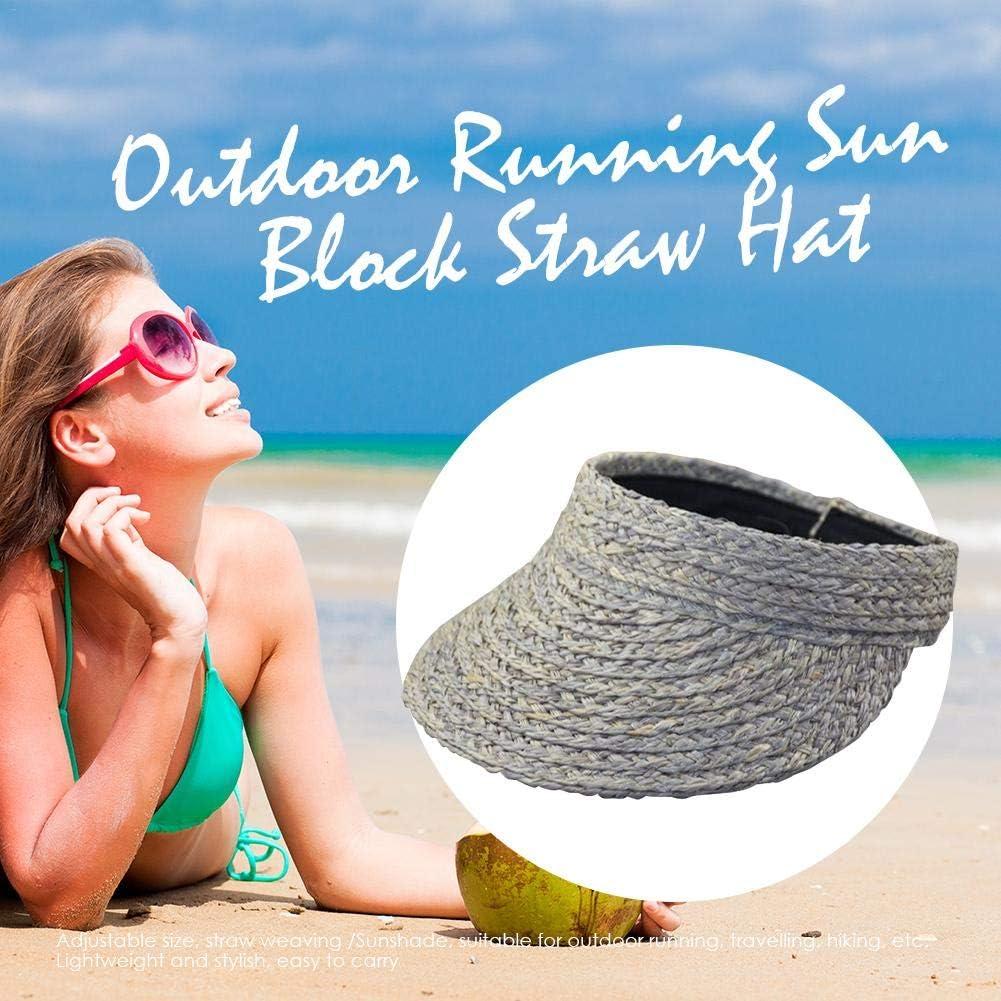 as Show A Donne gaeruite Pieghevole Paglia Parasole Spiaggia Open Top Hat Girl Regolabile Wide Brim Roll-up Paglia Parasole Cappello da Sole