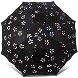 日傘 晴雨兼用 水に当てると花柄の色がすぐに変化する 折りたたみ傘 100%UVカット 軽量 耐風 撥水 8本骨(桜花爛漫系)