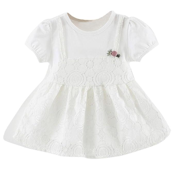 QinMM Vestido de Verano Floral del Cordón de Niñas bebé, Fiesta Princesa Tutú Vestido de Manga Corta: Amazon.es: Ropa y accesorios
