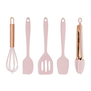 COOK with COLOR Set of Five Pink and Rose Gold Silicone Mini Kitchen Utensil Set