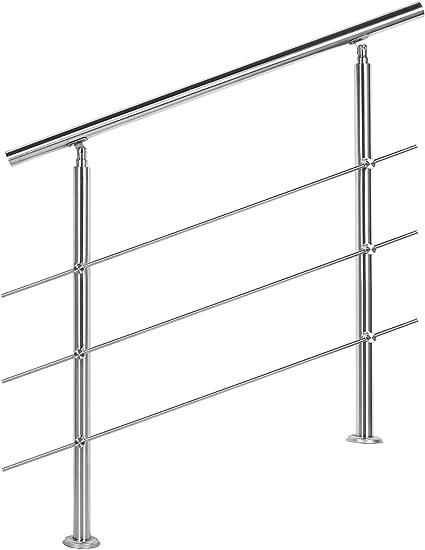 Barandilla acero inox 3 varillas 80cm Pasamanos escalera Parapeto: Amazon.es: Oficina y papelería