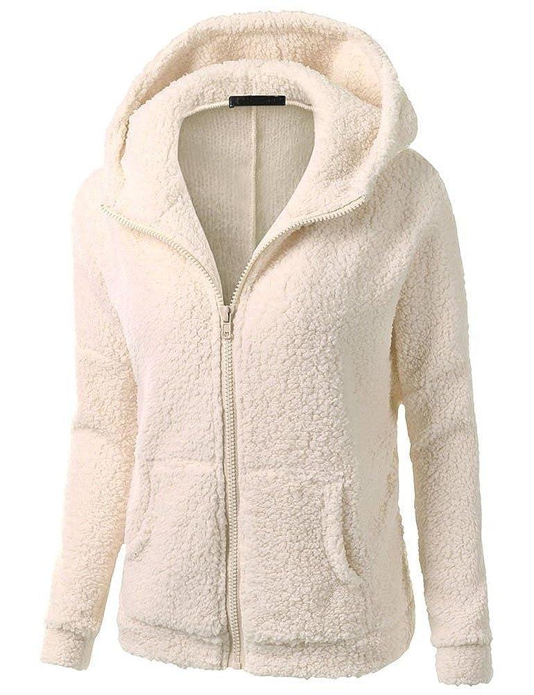 Womens Hooded Full Zip Up Sherpa Fleece Hoodie Jacket Coat