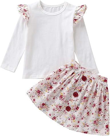Julhold - Conjunto de Ropa de algodón para bebé y niña, con Falda Lisa, Estilo Informal, Tallas de 0 a 4 años: Amazon.es: Ropa y accesorios