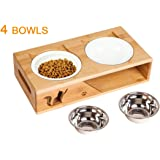 Lepet Elevated Dog Cat Bowls, Raised Pet Feeder Solid Bamboo Stand 2 Ceramic Bowls and 2 Stainless Steel Bowls Perfect…