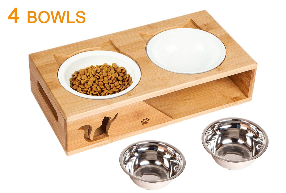 Lepet Elevated Dog Cat Bowls, Raised Pet Feeder Solid Bamboo Stand 2 Ceramic Bowls and 2 Stainless Steel Bowls Perfect for Cats and Small Dogs(Plane) by Lepet