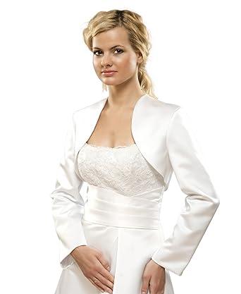 Brautjacke Bolero Jacke für Hochzeit/Brautkleid aus Satin Gr S bis ...