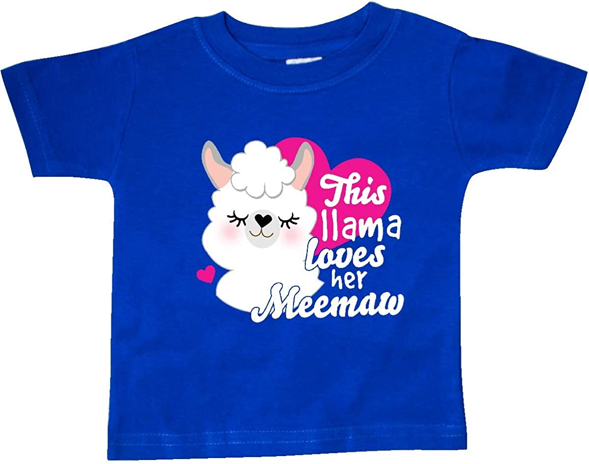 inktastic Valentines Day This Llama Loves Her Meemaw Baby T-Shirt