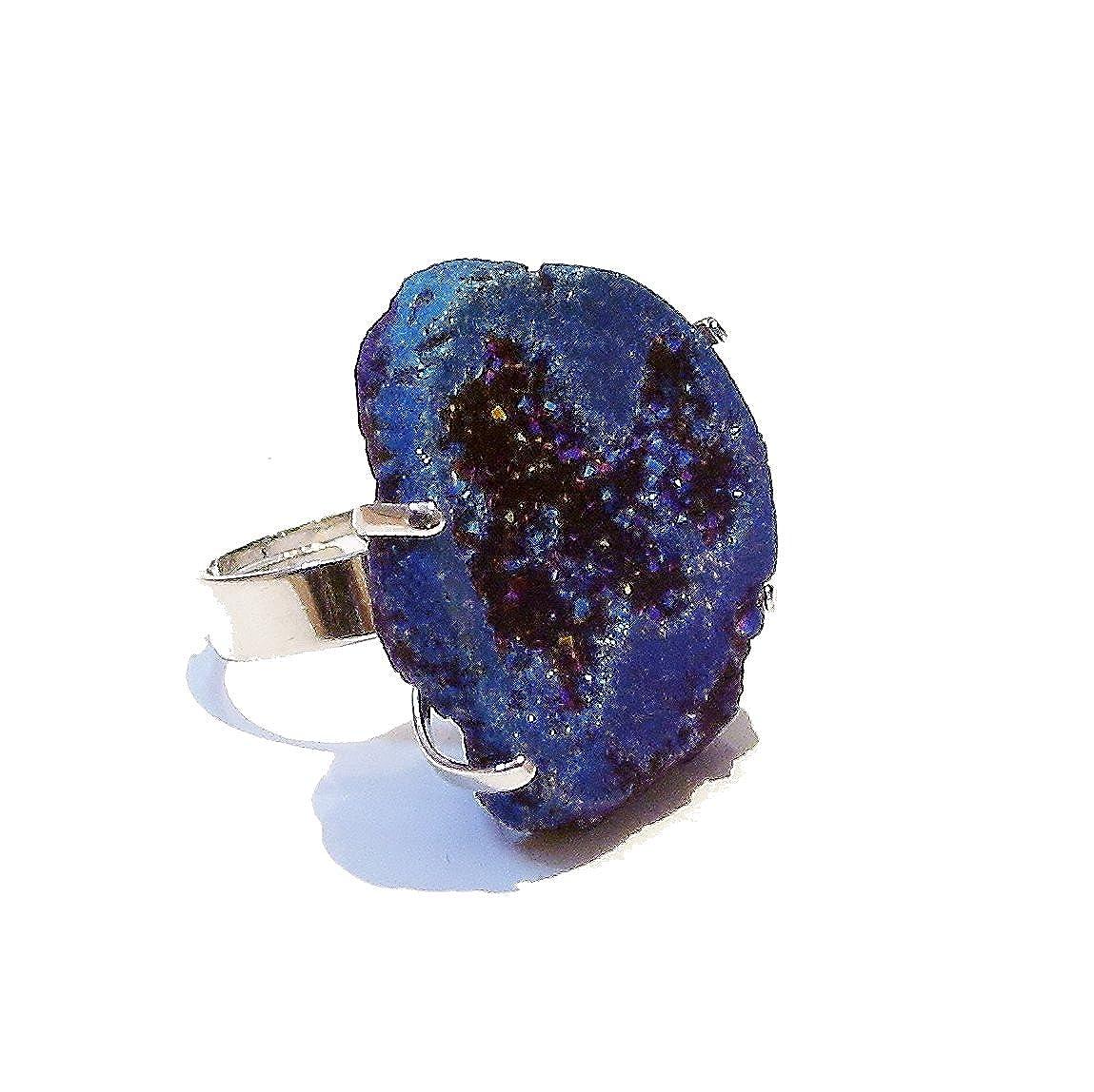 BlackCat Large Quartz Druzy Cocktail Ring Metallic Blue//Purple