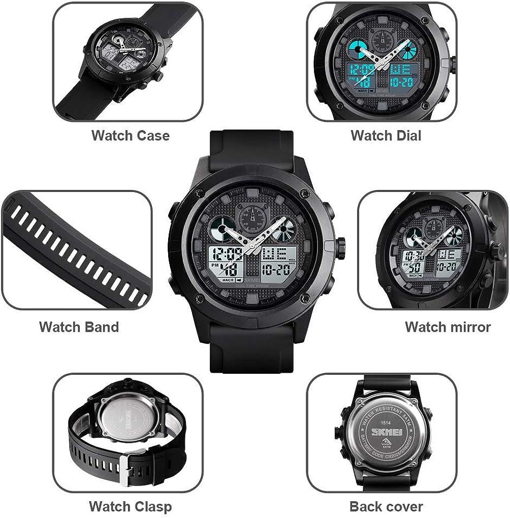 Mens Watches Sports Outdoor Analog Digital Dual Display Military Multifunctional Waterproof LED Alarm Stopwatch