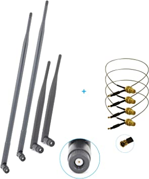 U.fl Cable Mod Kit for Wireless Routers 1x 9dBi RP-SMA Dual Band WiFi Antenna
