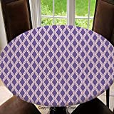 Stain Resistant Elastic Edged Table Cloth Rectangles with Triangle Pattern Geometrical Design with Pale Palette Decorative Perfect for Home or Restaurants Table Protection Round 55 Lilac Lavander