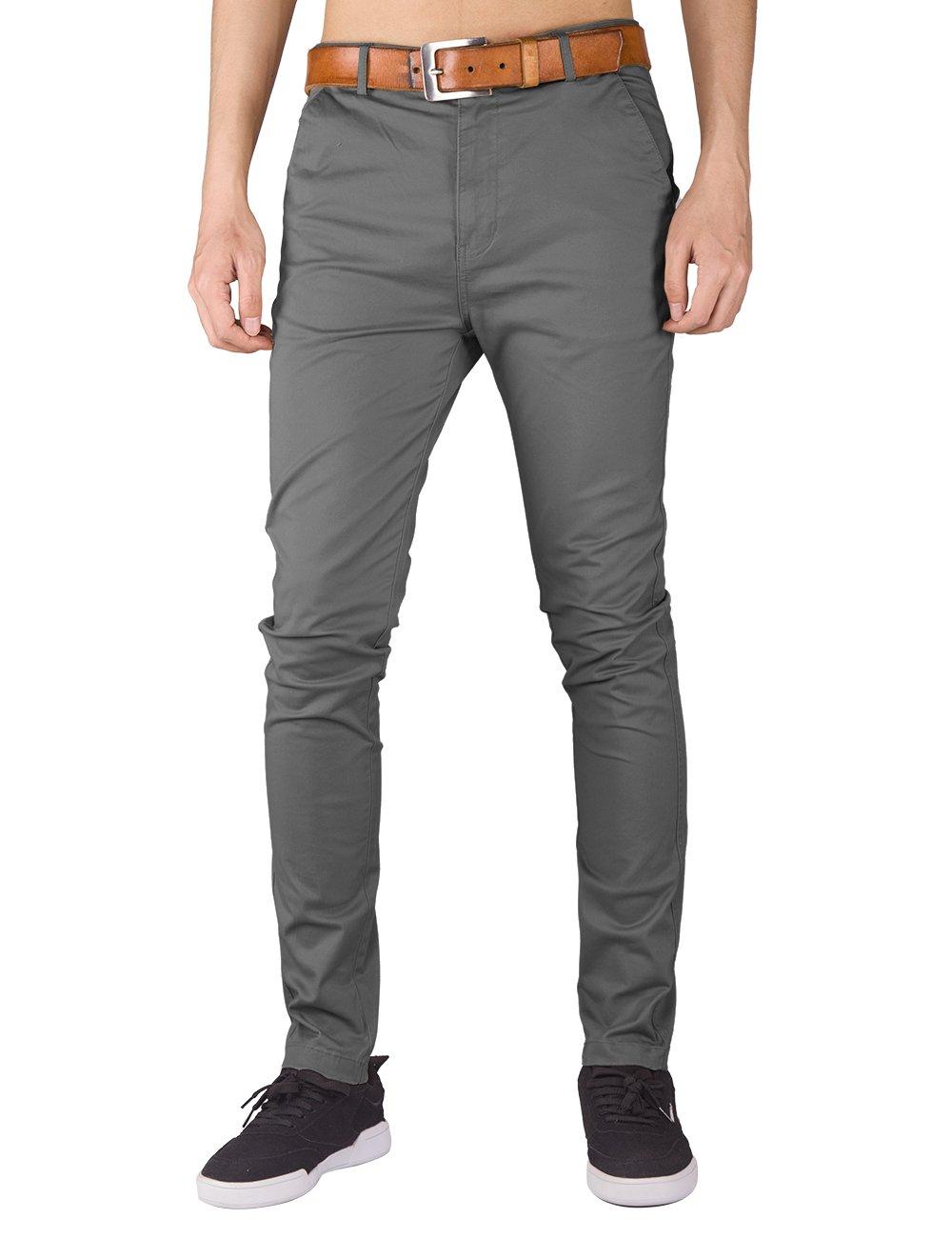 ITALY MORN Mens Flat Front Chino Pants Casual Khakis Slim Fit (M, Mid Grey)