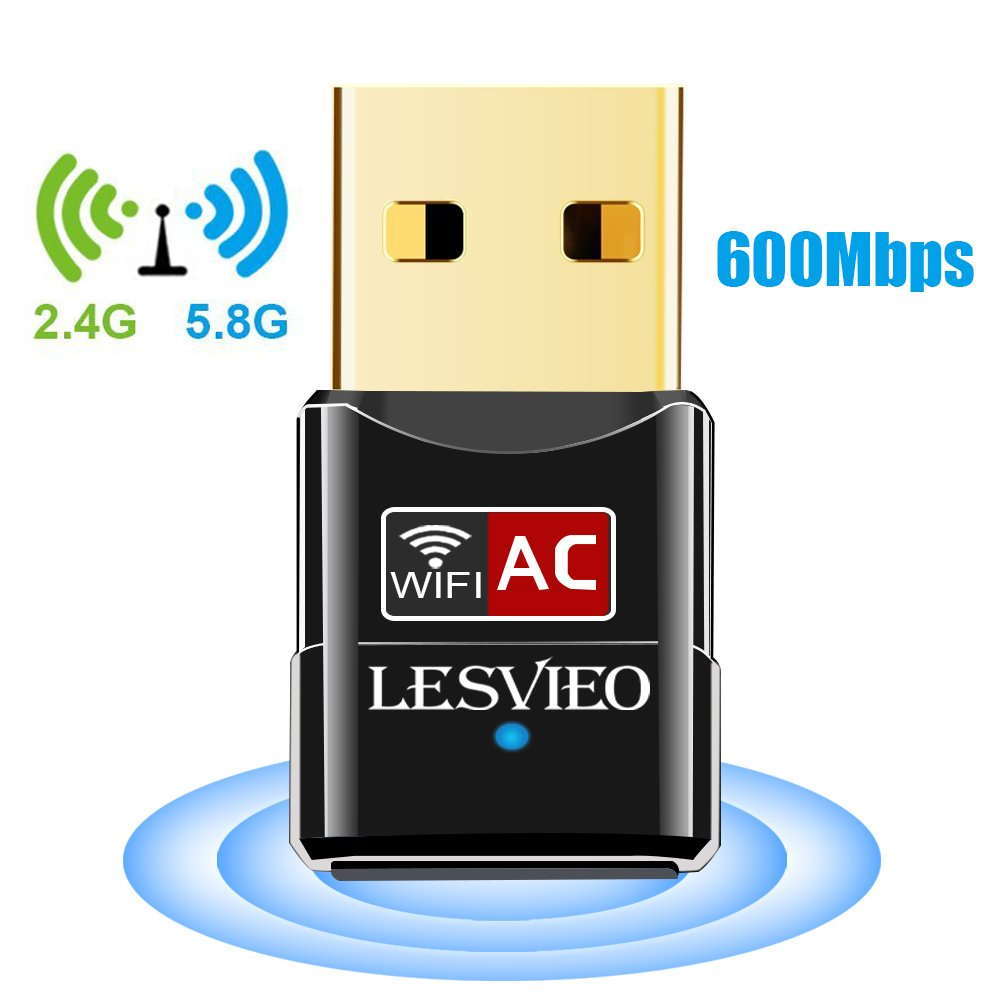 USB Wifi Adapter, LESVIEO 600Mbps Wireless Network Adapter Wifi Dongle for Laptop Desktop PC Windows 10 8 7 MAC OS (Dual Band) 2.4GHz/150Mbps + 5GHz/433Mbps by LESVIEO