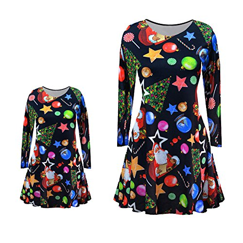 Fashion Carton Printing Long Sleeve Dress One-piece Dress For Mother Daughter Parent-child Outfits Clothes Christmas Party Costume (XL(120), (Cute Mother And Daughter Costumes)