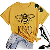 Be Kind T-Shirt Women Short Sleeve T Shirts Cute Bee Graphic Shirts Funny Inspirational Casual Tees Tops