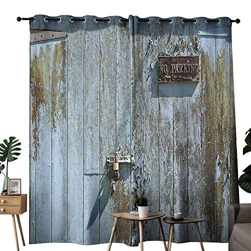 Hand Shower Parking Bracket - Industrial Decor Collection Insulated Curtains Grungy Old Rotting Garage Door with No Parking Sign Rusty Locked Aged Wood Image Wedding Party Home Window Decoration W72 xL72 Blue Khaki