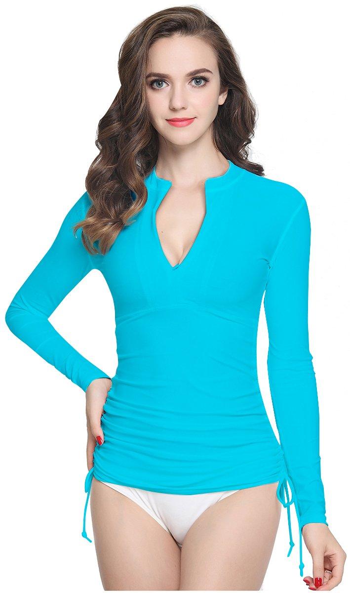 ilishop Women's UV Sun Protection Long-Sleeve Rash Guards Blue S-US4