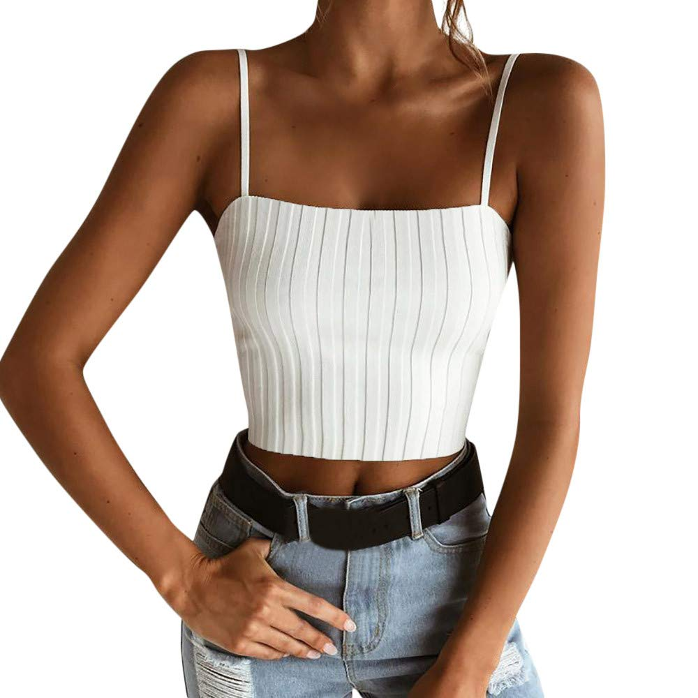 Women Slim Solid Tank Cami Top Sleeveless Vest Off Shoulder Halter Blouse T Shirt Camis Knit Sweater Strapless White