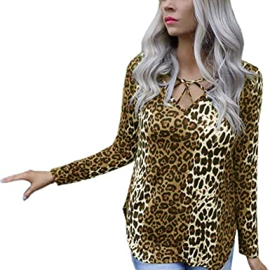 a96521402b03 Amazon.com: Women's Sexy Leopard Print T-Shirt V Neck Long Sleeve Criss  Cross Tunic Casual Loose Blouse Tops T-Shirt: Clothing