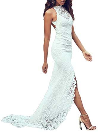 alilith.Z Sexy Halter Side Slit Backless Long Mermaid Lace Beach Wedding Dresses For Bride