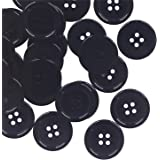 YAKA 80Pcs 1inch(25mm) Sewing Resin Buttons Round Shape 4 Holes Craft Buttons for Sewing Scrapbooking and DIY Craft Black