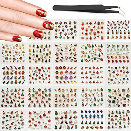 Christmas Nails Decals Stickers, KINGMAS 24 Sheets Multi-Color Mixed Styles Hot stamping Nail Art Decals with Tweezers]()