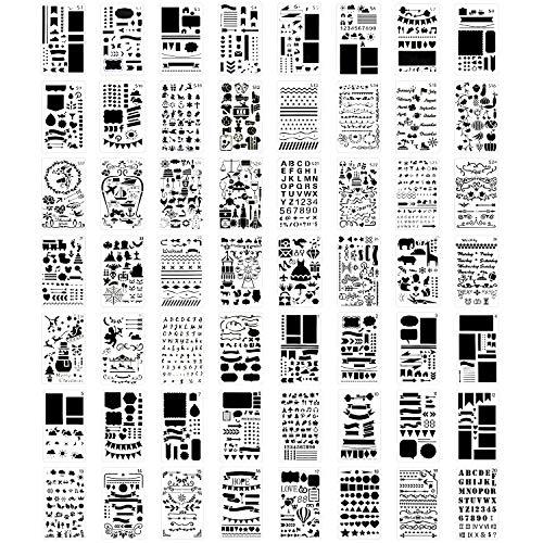 56 PCS Journal Stencil Plastic Planner Set for Journal Notebook Diary Scrapbook DIY Drawing Template Journal Stencils 4x7 Inch