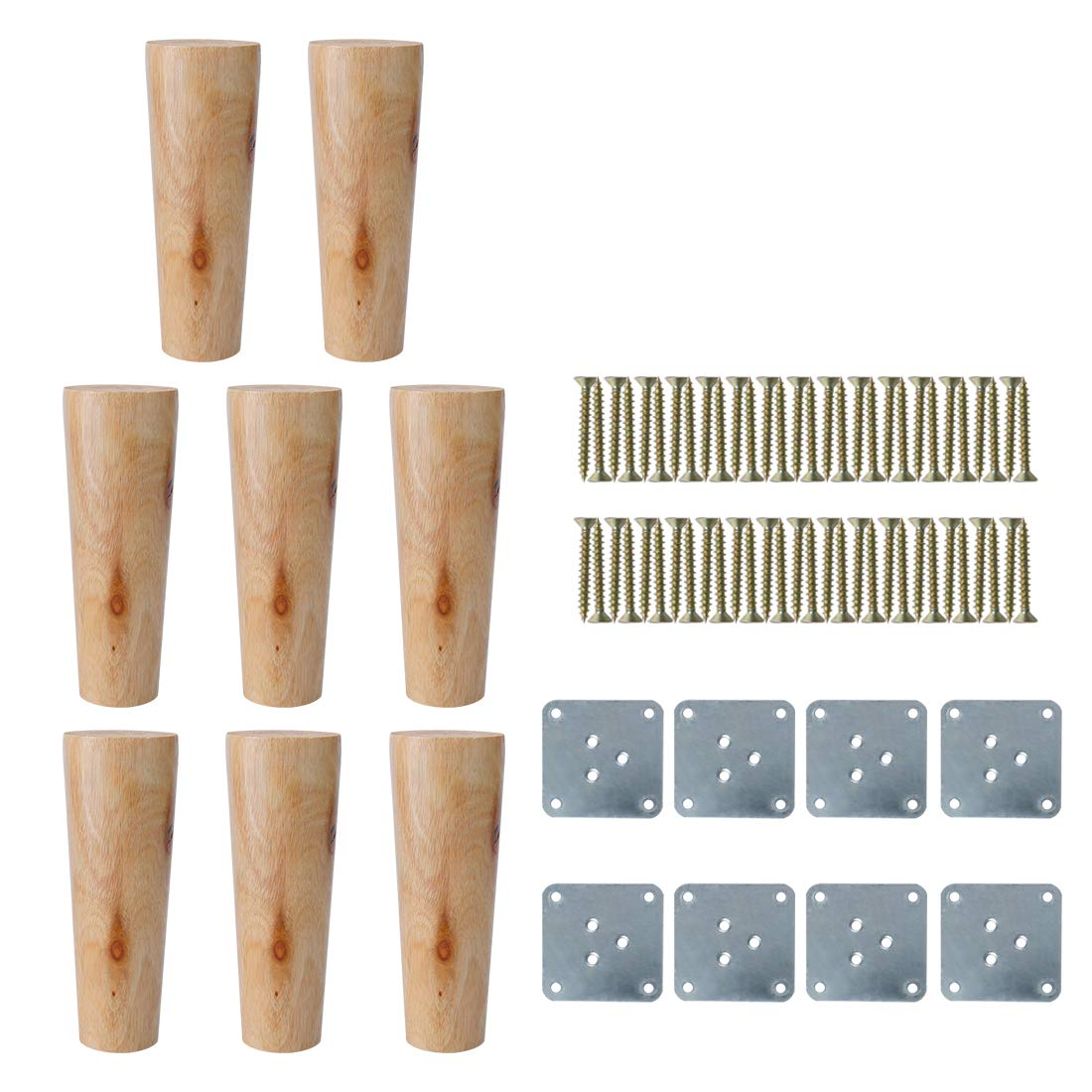 uxcell 6 inches Round Solid Wood Furniture Legs Sofa Chair Bed Desk Closet Cabinet Feet Replacement Set of 8