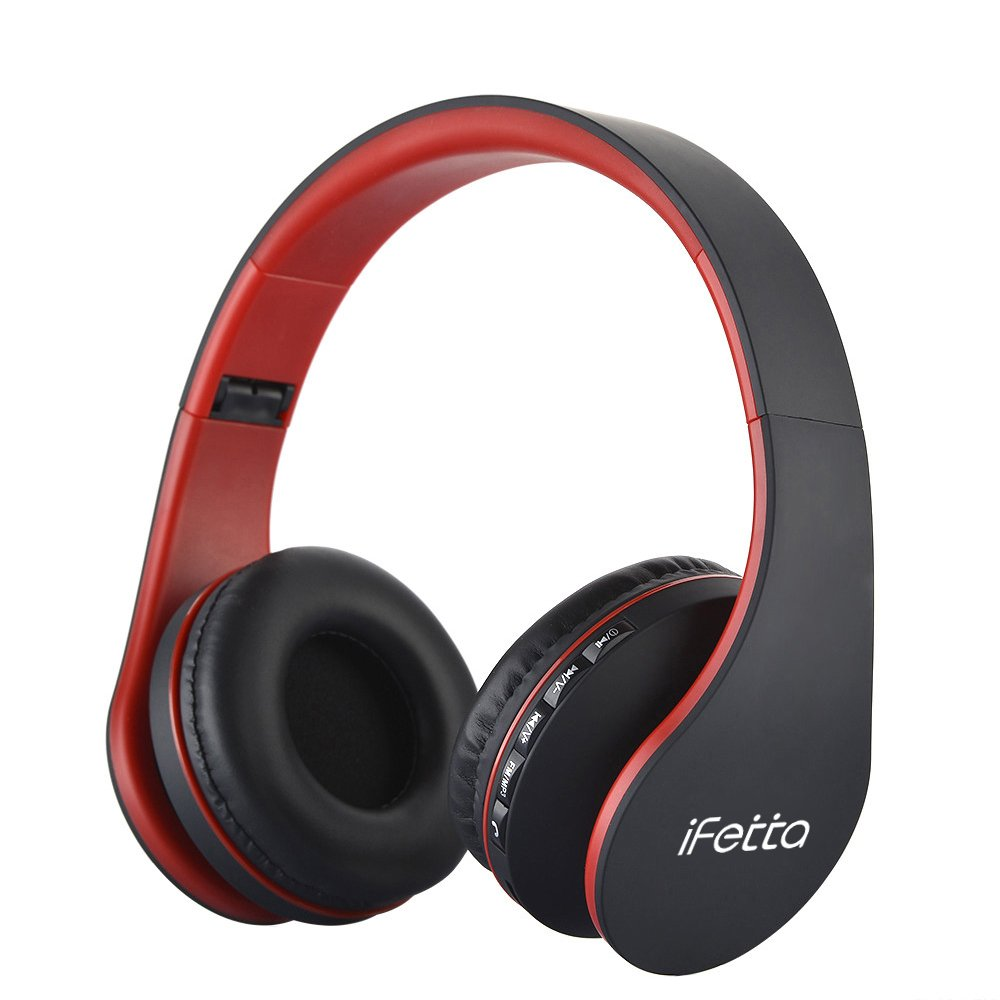 Fetta Wired On Ear Headphones with 3.5mm Audio Cable Wireless Stereo Bluetooth Headphones with Mic Protable Headsets Earphones for Smartphones,PC,Laptop,MP3 Player and More (Red)